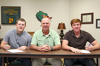 PJC baseball player signing photo