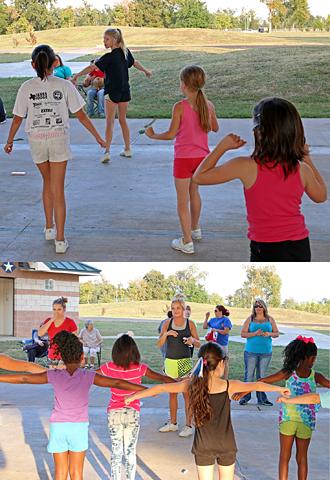 cheerleaders helping