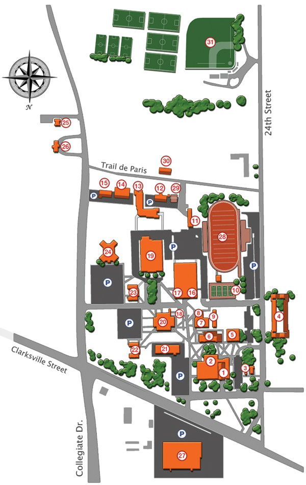 A map of Paris Junior College's Paris campus